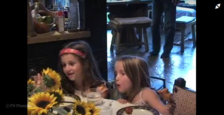 maggie and friends eating pizza