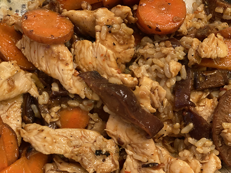close up of Chinese Chicken with carrots and mushrooms